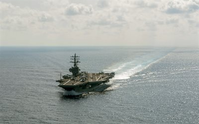 aircraft carrier, USS Ronald Reagan, CVN-76, US Navy, ocean