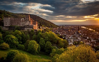 Heidelberg Castle, Evening, city panorama, sunset, Heidelberg, Germany