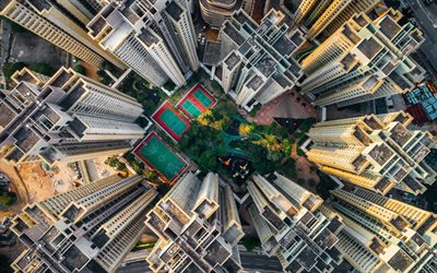 Hong Kong, Asia, China, skyscrapers, buildings, top view
