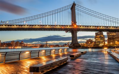 New York, evening, Manhattan Bridge, city lights, USA
