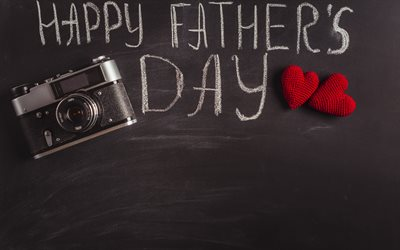 Happy Fathers Day, gray background, congratulation, old camera, June 17, 2018, USA