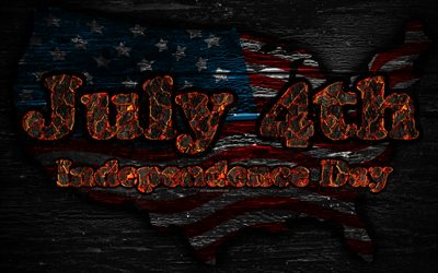 Independence Day, Fourth of July, 4k, fiery letters, July Fourth, wooden texture, 4th of July, USA, Independence Day of America, USA flag, USA map, american flag, The Fourth of July