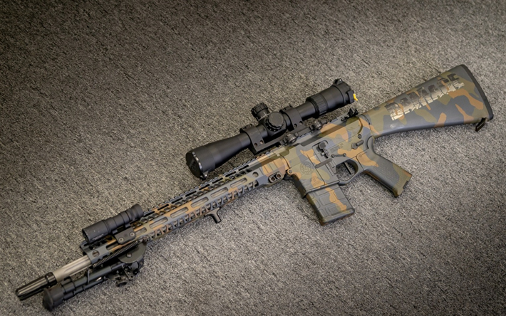 AR-15, American semi-automatic rifle, camouflage, assault rifle, special forces