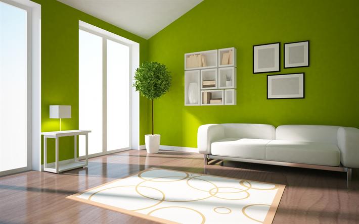 Pareti Salotto Verde : Scarica sfondi design elegante di soggiorno pareti verdi il
