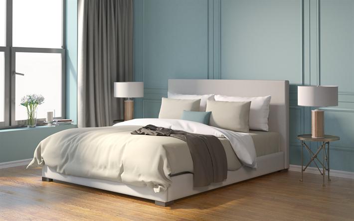 Stilvolle Schlafzimmer Interieur, Blaue Wände, Modernes Design, Ruhige  Innenraum, Schlafzimmer