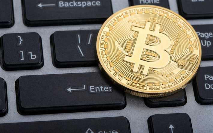 bitcoin, keyboard, electronic money, crypto currency, gold bitcoin, coin, finance concepts