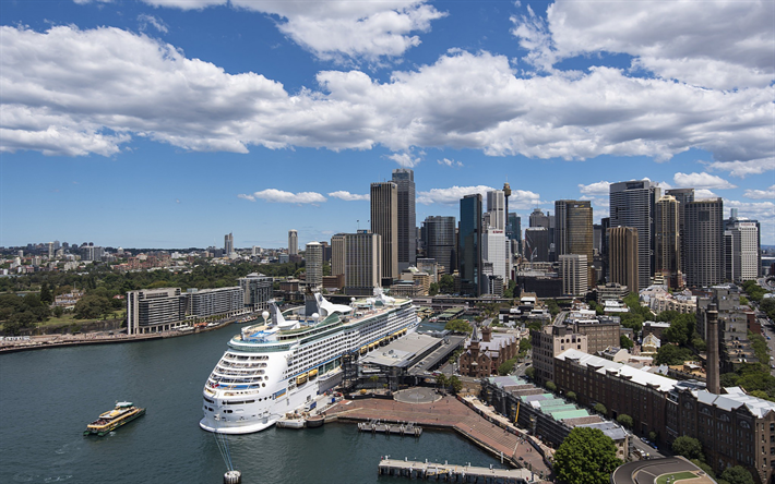 Sydney Cityscape Port Luxury Cruise Liner Summer Australia