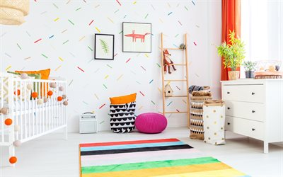 interior for a childrens room, bright interior, modern design, baby room, toys, project
