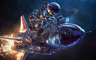 astronaut on a rocket, art, creative, fantasy, space, flight into space concepts