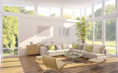 stylish light interior, living room, white big sofa, white walls, modern interior