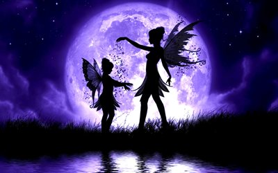 fairies, night, moon, female silhouettes