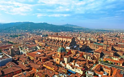 Bologna, 4k, summer, buildings, cityscapes, Italy