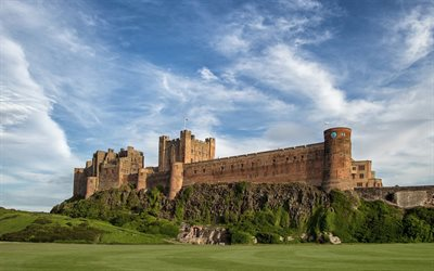 Northumberland, Bamburgh Castle, UK, summer, England