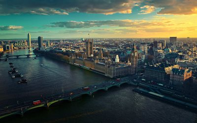 London, 4k, Westminster, sunset, England, UK