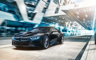 4k, BMW i8, 2018 cars, road, movement, black i8, supercars, BMW