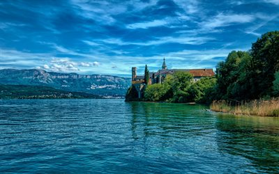 Saint-Pierre-de-Curtille, Summer, old fortress, lake, mountains, France, Hautecombe