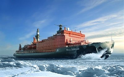 NS 50 Let Pobedy, nuclear-powered icebreaker, Arctic, 50 Years of Victory, sea