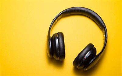 headphones, music concepts, headphones on a yellow background, 4k