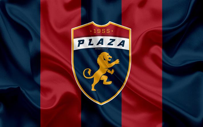 CD Plaza Amador, 4k, logo, silk texture, Panama football club, red