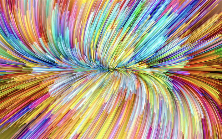4k, multicolored waves, colorful waves, rainbow, abstract art, creative, MacOS Mojave, abstract waves