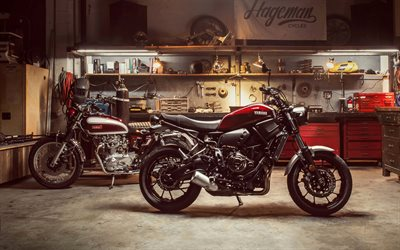 Yamaha XSR700 Sport, 2018, Yamaha XS650, 1970, cool motorcycles, garage, evolution, Japanese motorcycles