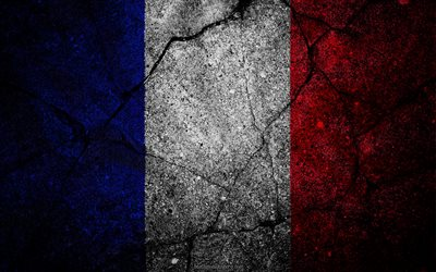 French flag, grunge, flag of France, art, stone texture, symbolism of France