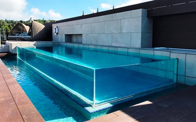 Download wallpapers glass swimming pool stylish swimming for Piscina fuori terra vetro