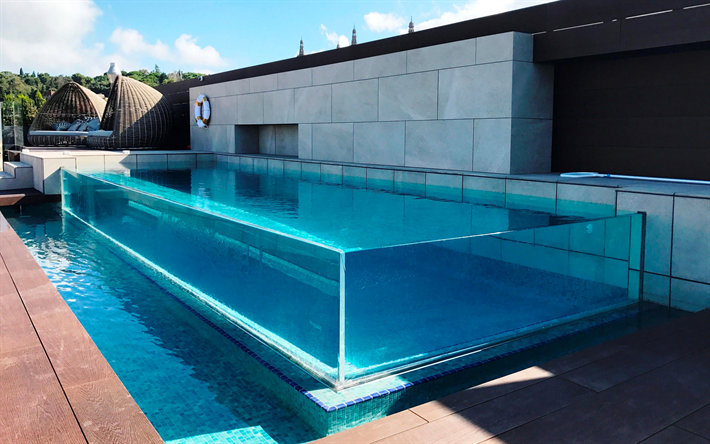 Download wallpapers glass swimming pool, stylish swimming ...