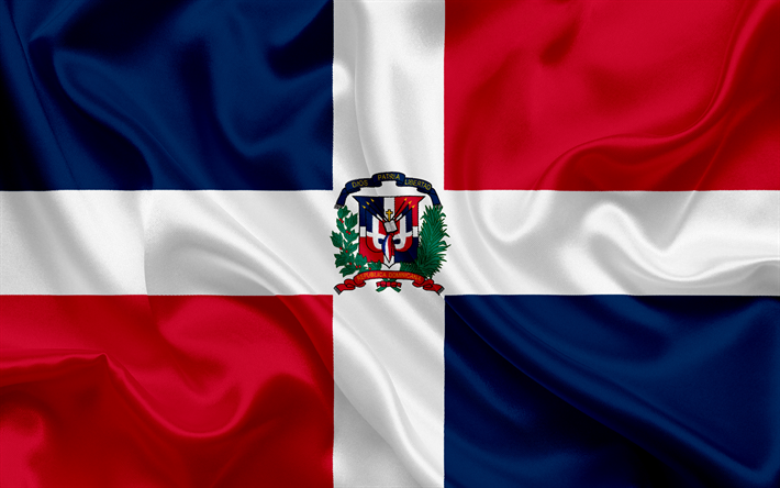 flag of Dominican Republic, Caribbean, Dominican Republic, silk flag, national symbols
