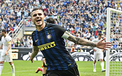 Mauro Icardi, 4k, Argentinian footballer, goal, Internazionale, Inter Milan FC, Serie A, football match, Italy, football, Mauro Emanuel Icardi Rivero
