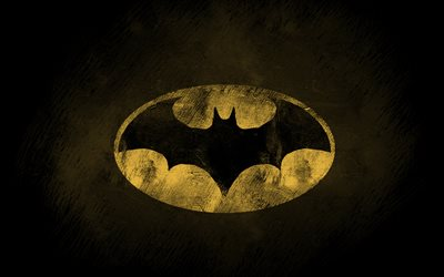 Batman logo, 4k, superheroes, Bat-man, grunge art, darkness, Batman, grunge