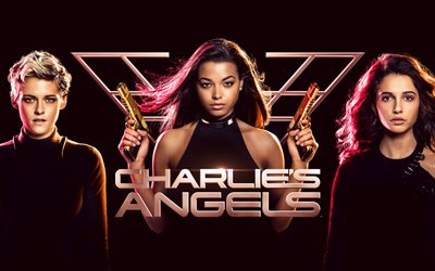 charlies angels, 4k, poster, 2019 movie, kristen stewart, naomi scott, ella balinska