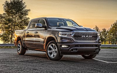 2019, Ram 1500 Limited, front view, exterior, pickup truck, new gray Ram 1500, american cars, Ram