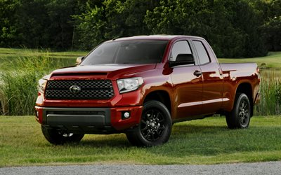 Toyota Tundra, 2019, red pickup truck, exterior, front view, new red Tundra, japanese cars, Toyota