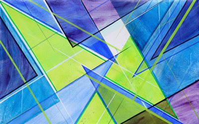 colorful triangles, abstract art, geometry, 3D art, geometric shapes, creative, 3D triangles, blue backgrounds
