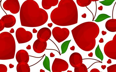 hearts with cherries, 4k, red hearts background, hearts textures, love concepts, hearts backgrounds