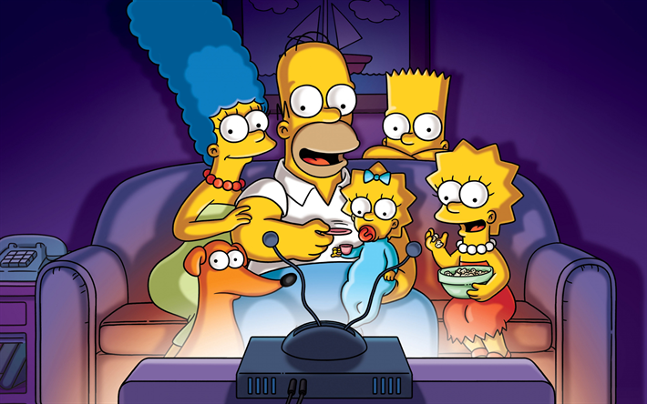 The Simpsons, all characters, Tv Series, Homer Simpson, Bart Simpson, Lisa Simpson, Marge Simpson