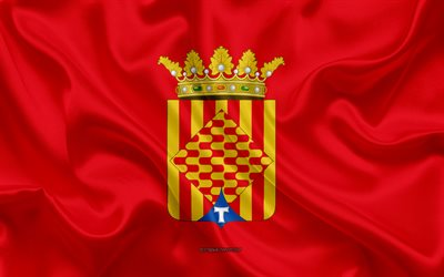 Tarragona Flag, 4k, silk texture, silk flag, Spanish province, Tarragona, Spain, Europe, Flag of Tarragona, flags of Spanish provinces