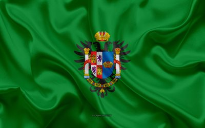 Toledo Flag, 4k, silk texture, silk flag, Spanish province, Toledo, Spain, Europe, Flag of Toledo, flags of Spanish provinces