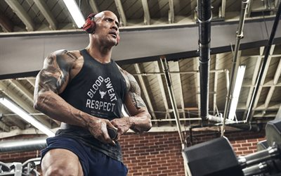 Dwayne Johnson, The Rock, portrait, photoshoot, gym, bodybuilding, american wrestler, american actor