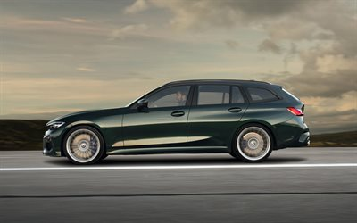 Alpina B3 Touring, 2019, G21, green wagon, side view, exterior, new green B3 Touring, tuning BMW 3, German cars, BMW