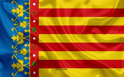 Valencia Flag, 4k, silk texture, silk flag, Spanish province, Valencia, Spain, Europe, Flag of Valencia, flags of Spanish provinces