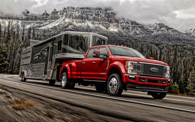 2020, Ford F-250, Super Duty, exterior, front view, red pickup truck, F-Series Super Duty, new red F-250, american cars, Ford