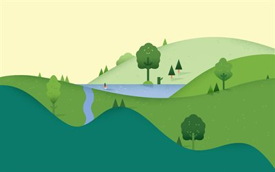abstract summer landscape, 4k, river, hills, abstract nature backgrounds, summer, minimal