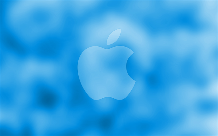 Download Wallpapers Apple Blue Logo 4k Blue Blurred