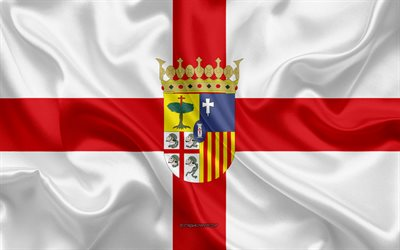 Zaragoza Flag, 4k, silk texture, silk flag, Spanish province, Zaragoza, Spain, Europe, Flag of Zaragoza, flags of Spanish provinces