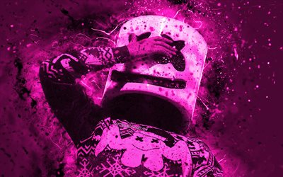 4k, DJ Marshmello, purple neon lights, superstars, Christopher Comstock, american DJ, night club, creative, Marshmello Helmet, music stars, Marshmello, DJs