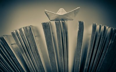 paper boat, book, travel concepts, tourism, ship travel