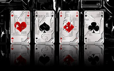 casino, 4 aces, playing cards, poker, 3D art, bokeh, casino concepts, 4 aces card trick