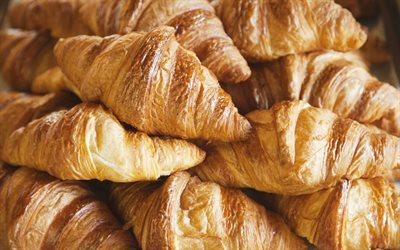 croissants, French pastries, croissants background, bakery products, breakfast